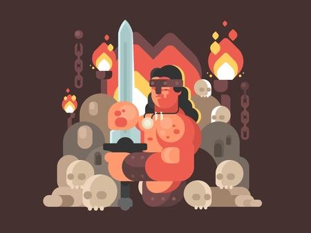 Valiente guerrero bárbaro espada