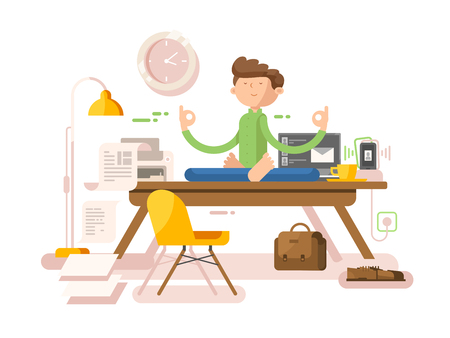 Meditation businessman in office