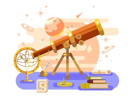 天文学デザイン レトロ  イラスト・ベクター素材