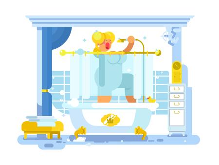 女性はシャワーで歌う  イラスト・ベクター素材