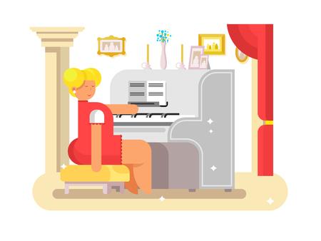 Waman play on piano Illustration
