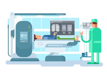 Una ilustración de un gabinete con un dispositivo de MRI. Foto de archivo - 80305102