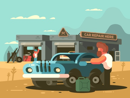 Roadside repair car service Stock Photo