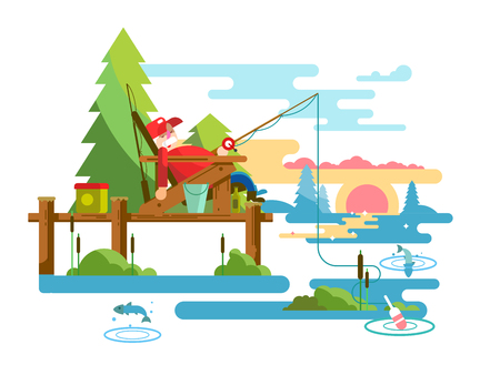 Rest fishing design. Vacation and relaxation, outdoor tourism fish, vector illustation