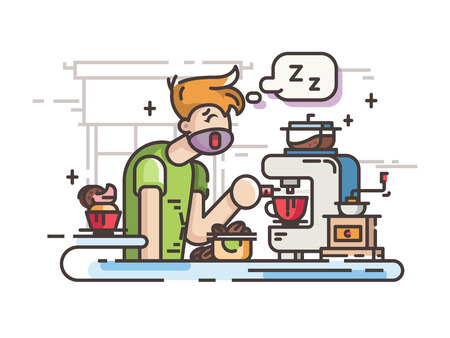 Sleepy guy making coffee in kitchen in morning. Vector illustration Banco de Imagens - 80633600