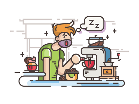 Sleepy guy making coffee in kitchen in morning. Vector illustration