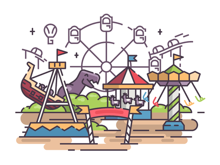 Amusement park with swing and merry-go-round and ferris wheel. Vector illustration Illustration