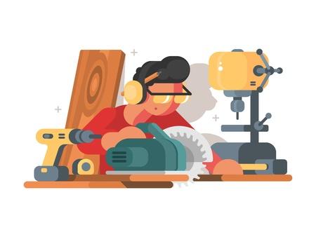 직장에서 woodworker 남자입니다. 일러스트