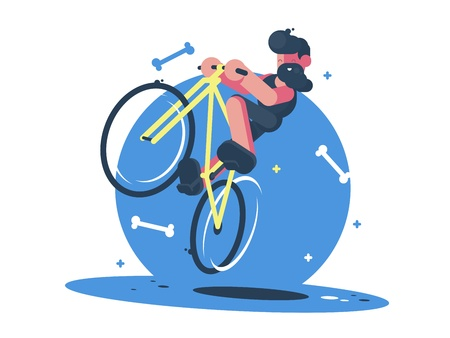 Active dude rides bicycle Illustration