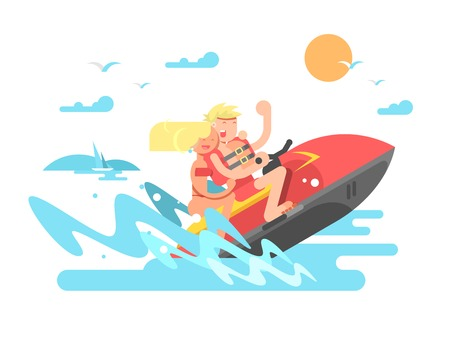Couple on hydrocycle. Sea summer, vacation and sport boat, travel and leisure, vector illustration