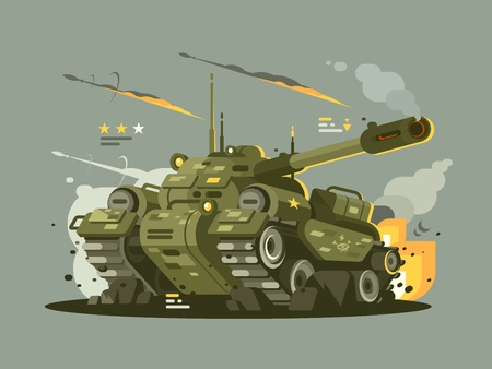 Military tank in fire Illustration