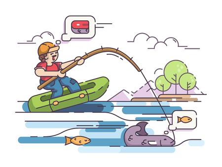 Fisherman in rubber boat, cartoon illustration. Illustration