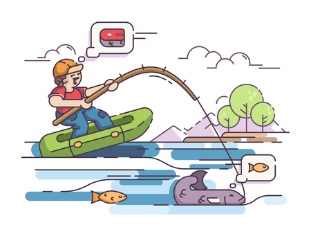 Fisherman in rubber boat, cartoon illustration. Illustration