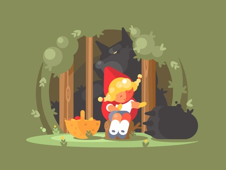 危険なウルフ プレデター ベクトル図と森林で失われた赤ずきんちゃん