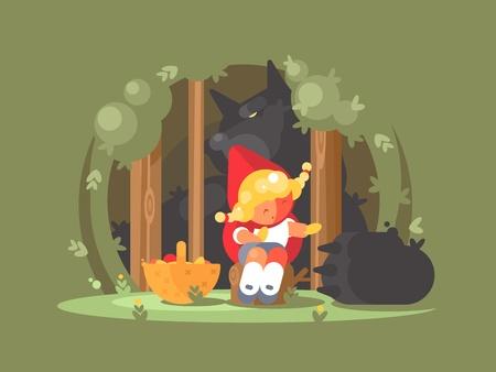 Poco capuchino rojo perdido en el bosque con peligroso depredador de lobo Ilustración vectorial Foto de archivo - 81438001
