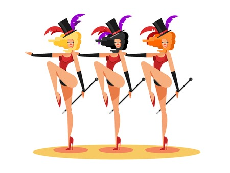 Cabaret dance girls. Dancer show woman, sexy performance lady, vector illustration 向量圖像