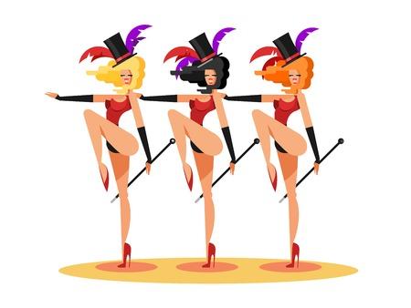 Cabaret dance girls. Dancer show woman, sexy performance lady, vector illustration Illustration
