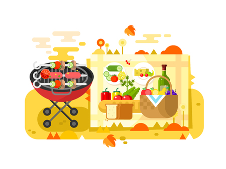 BBQ party design flat. Grill picnic and barbecue hot meat. Vector illustration