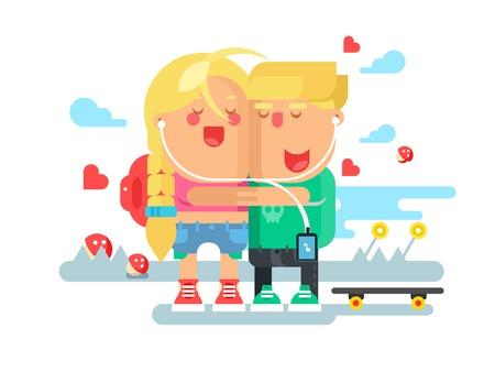 共感少年と少女。女と男、一緒に友情の愛デートと共感。ベクトル図