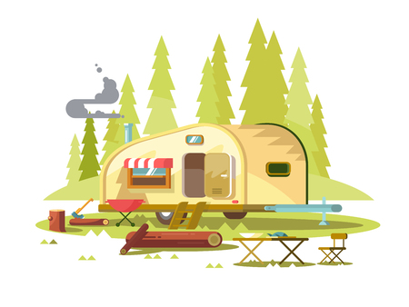 Trailer for travel in forest Illustration