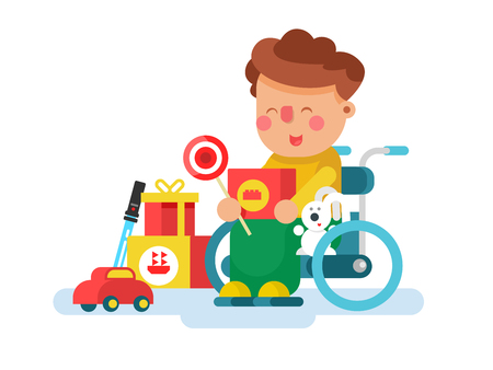 Boy in a wheel chair with toys