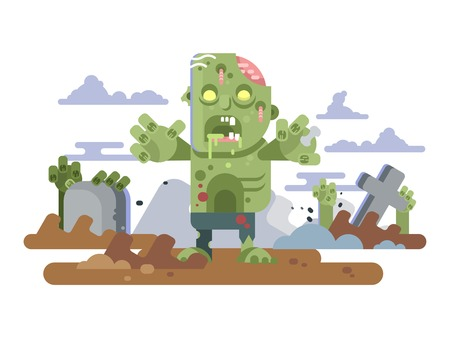 Zombies in cemetery night Illustration