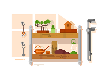 Shelf interior with object Stock Vector - 82051511