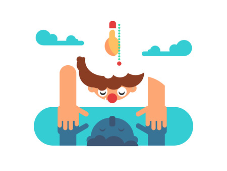Man mind reflection. Person looking at reflection in puddle. Flat vector illustration. Illustration