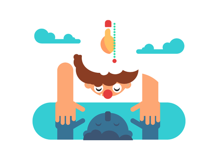 reflection in mirror: Man mind reflection. Person looking at reflection in puddle. Flat vector illustration. Stock Photo