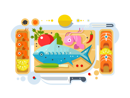 Sea food fish product. Salmon piece, fresh eating, seafood delicacy. Vector illustration