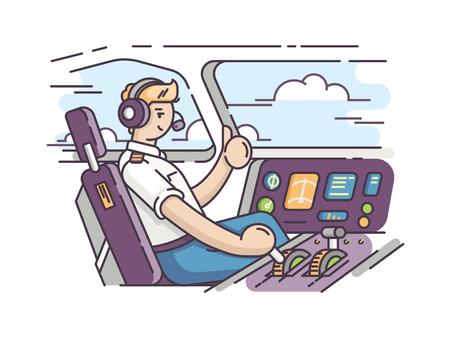Aereo pilota in cabina di pilotaggio  Archivio Fotografico - 82622881