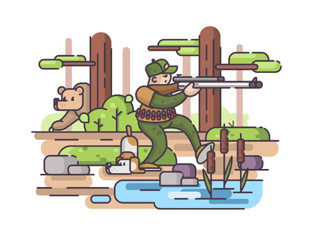 Character of hunter with gun and dog in forest hunting bear. Vector illustration
