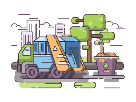 Truck garbage collect trash from container. Vector flat line illustration Stock Photo
