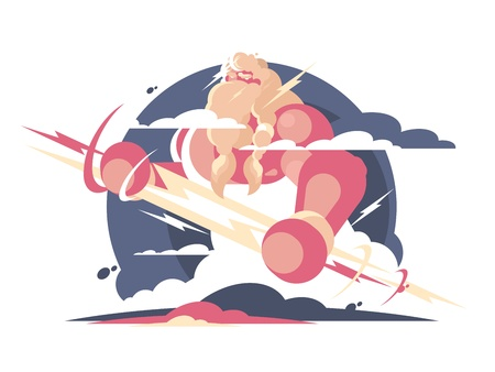 God Zeus in heaven with lightning in hands. Vector illustration