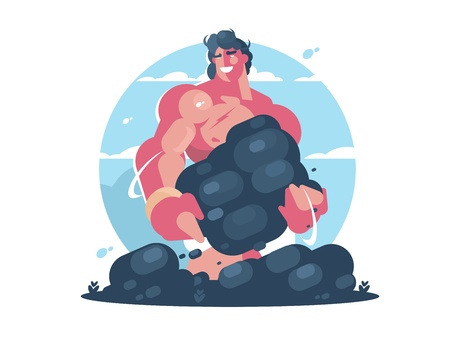 Mythological character of Hercules. Strong muscular guy. Vector flat illustration Illustration