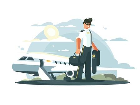 Beroepspiloot van vliegtuigen. Mens in eenvormige status dichtbij vliegtuig. Vector illustratie