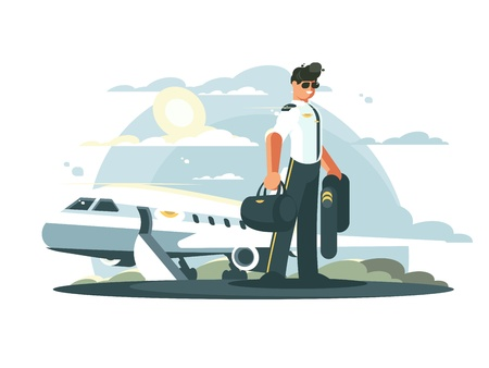 Profession pilot of aircraft. Man in uniform standing near airplane. Vector illustration Ilustração