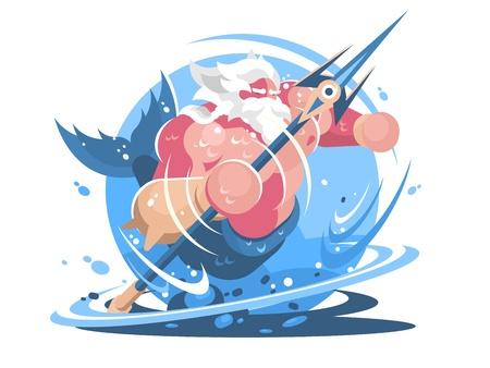 Poseidone personaggio con tridente. Dio del mare e dell'oceano. Illustrazione vettoriale Archivio Fotografico - 84274335