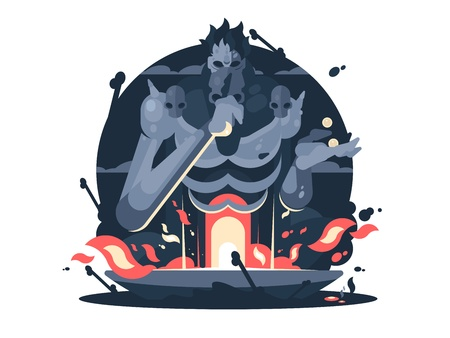 Character of Hades god death. Ancient greek mythology. Vector flat illustration Illustration