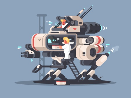 Exoskeleton medical for complex operation. Innovative medicine technologies. Vector illustration 일러스트