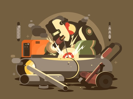 Man welder in mask cuts metal in workshop. Vector illustration Ilustracja