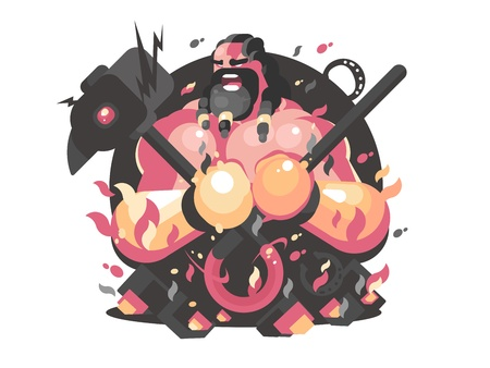 Hephaestus ancient greek god of fire and blacksmith craft. Vector illustration Vettoriali