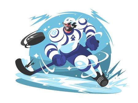 IJshockeyteam-speler met stick en puck. Vector illustratie Stockfoto - 84274343