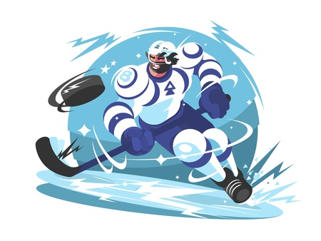 Ice hockey team player with stick and puck. Vector illustration