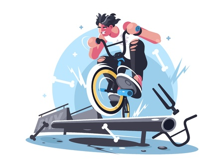 Young guy riding bicycle bmx Illustration