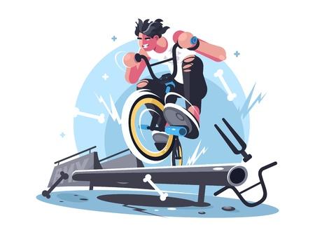 Young guy riding bicycle bmx Çizim