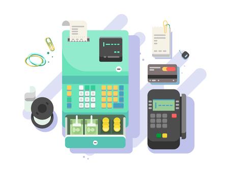 Cash machine with money and terminal for cards Ilustração