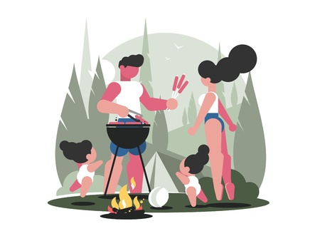 Young family with children on picnic barbecue with campfire. Vector illustration Illustration