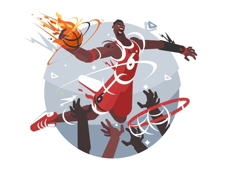 Basketball player with ball Illustration