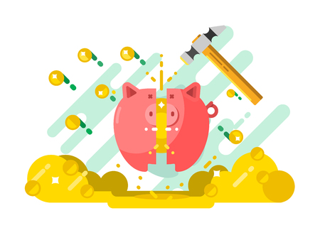 Break piggy bank with money